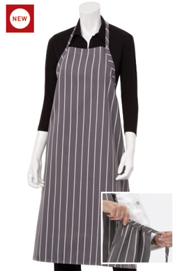 Picture of Chef Works - A100-BCS - Black Chalkstripe Adjustable English Chefs Apron NP