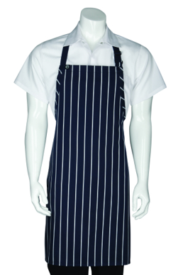 Picture of Chef Works - APKNW - NavyWhite Striped Bib Apron No Pocket