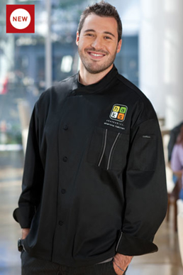 Picture of Chef Works - SILS-BTG - Amalfi Signature Series Black Chef Coat w Gray Trim