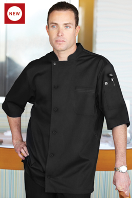 Picture of Chef Works - VSSS-BBK - Valais Black V Series SS Tunic Coat