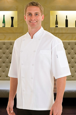 Picture of Chef Works - EWCV - Palermo White Short Sleeve Chef Coat w Cool Vent™