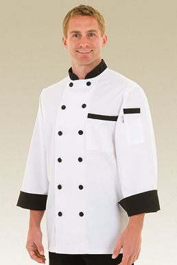 Picture of Chef Works - BBTR - Dijon White Basic Chef Coat w Black CollarCuffs