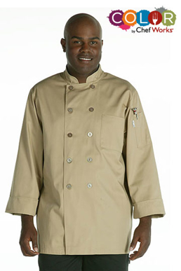 Picture of Chef Works - CCBA-KHA - Cyprus Khaki Basic Chef Coat