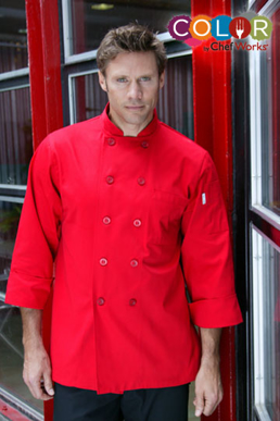 Picture of Chef Works - REPC - Nantes Red Basic Chef Coat
