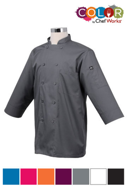 Picture of Chef Works - JLCL-GRY - Gray 34 Basic Lite Chef Coat