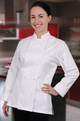 Picture of Chef Works - CWLJ-BLK - Marbella Women's Black Executive Chef Coat