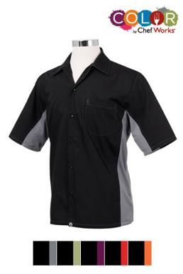 Picture of Chef Works - CSMC-BME - Men's BlackMerlot Universal Contrast Cook Shirt