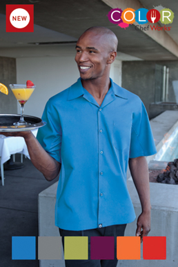 Picture of Chef Works - CSMV-GRY - Men's Gray Universal Contrast Cook Shirt