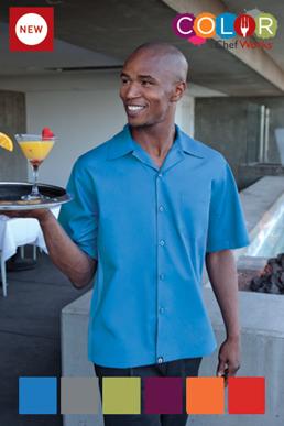 Picture of Chef Works - CSMV-ORA - Men's Orange Universal Contrast Cook Shirt