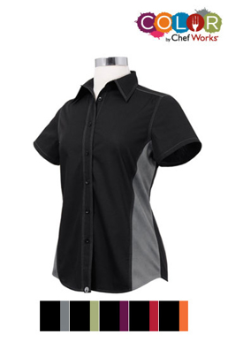 Picture of Chef Works - CSWC-BKL - Female BlackLime Universal Contrast Shirt