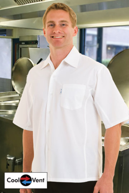 Picture of Chef Works - CSCV-BLK - Men's Black Cool Vent™  Cook Shirt