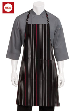 Picture of Chef Works - A550-BWR - BlackWhiteRed Striped Bib Apron