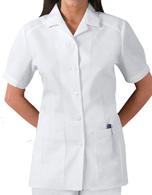 Picture of CHEROKEE-CH-2880-Cherokee Whites Women Two Pockets Pleated Nursing Scrub Top