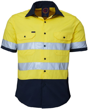 Picture of Ritemate Workwear-RM1050RS-Open Front 2 Tone S/S Shirt with 3M 8910 Reflective Tape  Shirts