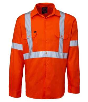 """Picture of Ritemate Workwear-RM109VXR-Vented Open Front,3M 8910 Reflective Tape """"X"""" design Shirts"""