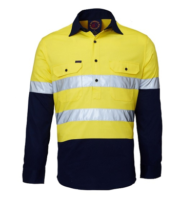 Picture of Ritemate Workwear-RM105CFR-Closed Front 2 Tone with 3M 8910 Reflective Tape Shirts