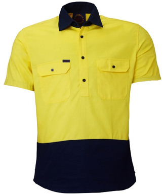Picture of Ritemate Workwear-RM105CFS-Closed Front 2 Tone S/S Shirt