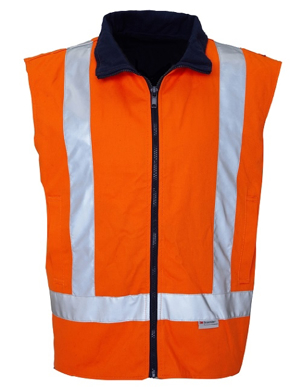 Picture of Ritemate Workwear-RM7654R-Drill Reversible Vest with 3M 8910 Reflective Tape