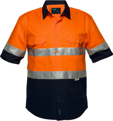Picture of Prime Mover-MA102-Hi-Vis Two Tone Regular Weight Short Sleeve Shirt with Tape