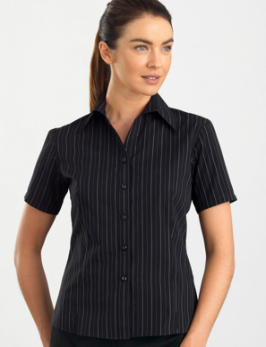 Picture of John Kevin Uniforms-107 Black-Womens Short Sleeve Fine Stripe