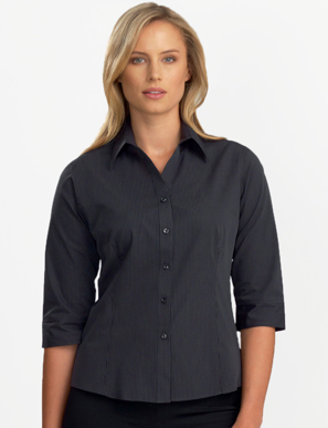 Picture of John Kevin Uniforms-136 Charcoal-Womens 3/4 Sleeve Dark Stripe