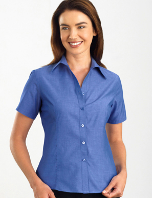 Picture of John Kevin Uniforms-161 Indigo-Womens Short Sleeve Chambray