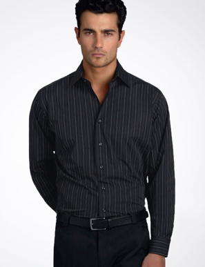 Picture of John Kevin Uniforms-206 Black-Mens Long Sleeve Fine Stripe