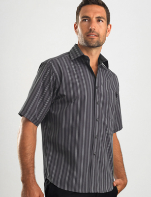Picture of John Kevin Uniforms-225 Dark Grey- Mens Short Sleeve Multi Stripe