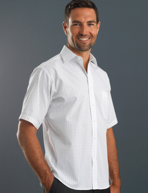 Picture of John Kevin Uniforms-231 Grey-Mens Short Sleeve Window Check