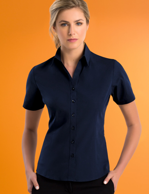 Picture of John Kevin Uniforms-503 Deep Blue-Womens Stretch Slim Fit S/S Poplin
