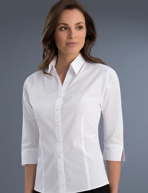 Picture of John Kevin Uniforms-700 White-Womens Slim Fit 3/4 Sleeve Poplin