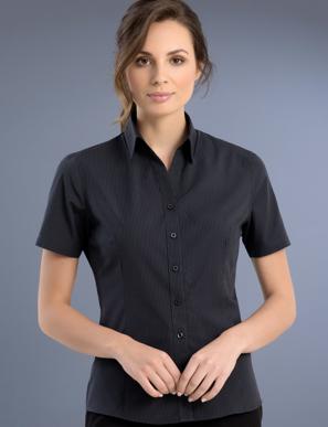 Picture of John Kevin Uniforms-737 Charcoal-Womens Slim Fit Short Sleeve Dark Stripe