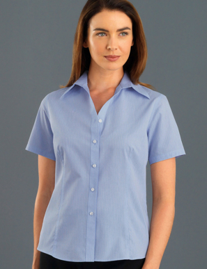 Picture of John Kevin Uniforms-337 Blue-Womens Short Sleeve Soft Stripe