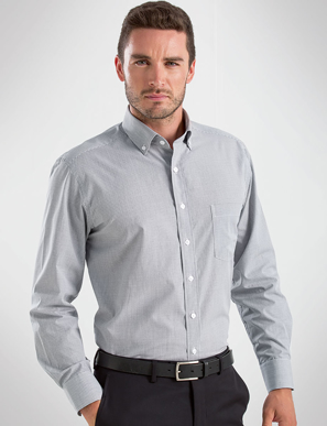 Picture of John Kevin Uniforms-456 Grey-Mens Long Sleeve Multi Check