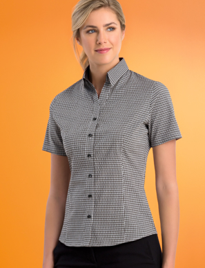 Picture of John Kevin Uniforms-535 Navy-Womens Stretch Slim Fit S/S Micro Check
