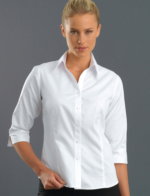 Picture of John Kevin Uniforms-300 White-Womens 3/4 Sleeve Pinpoint Oxford