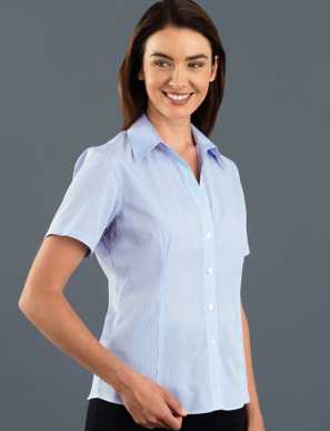 Picture of John Kevin Uniforms-325 Blue-Womens Short Sleeve Mini Check