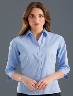 Picture of John Kevin Uniforms-354 Blue-Womens 3/4 Sleeve Multi Check