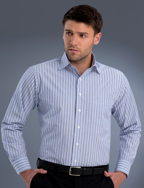 Picture of John Kevin Uniforms-422 Plum-Mens Long Sleeve Fashion Stripe