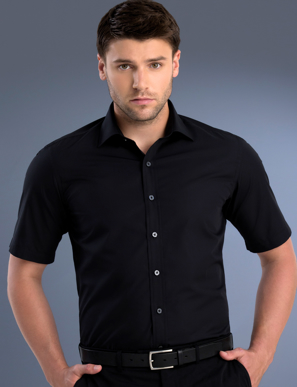 Picture of John Kevin Uniforms-801 Black-Mens Slim Fit Short Sleeve Poplin