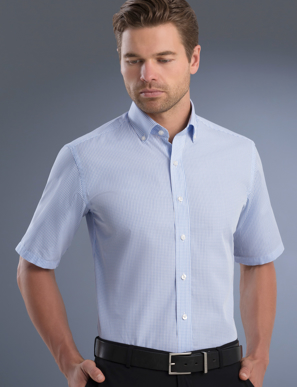 Picture of John Kevin Uniforms-825 Blue-Mens Slim Fit Short Sleeve Mini Check