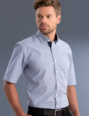 Picture of John Kevin Uniforms-877 Navy-Mens Slim Fit Short Sleeve Square Check