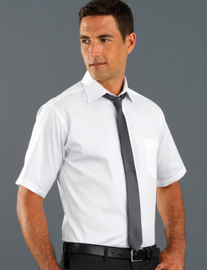 Picture of John Kevin Uniforms-401 White-Mens Short Sleeve Pinpoint Oxford