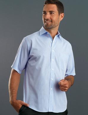 Picture of John Kevin Uniforms-425 Blue-Mens Short Sleeve Mini Check