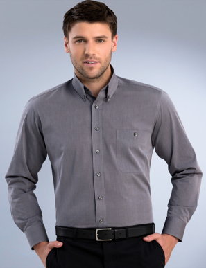 Picture of John Kevin Uniforms-264 Graphite-Mens Long Sleeve Chambray