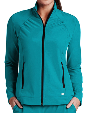 Picture of Barco One Women's Crew Neck Zip Front Basic Jacket- (5405)