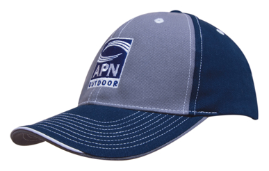 Picture of Headwear Stockist-4053-Brushed Heavy Cotton Two Tone Cap with Contrasting Stitching and Open Lip Sandwich