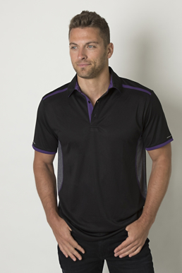 Picture of Be seen-BKP500-Mens polo with contrast shoulder panel