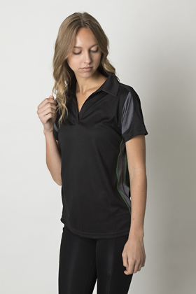Picture of Be seen-BKP800L-Ladies polo with contrast soft touch heather fabric at sleeves and side panels