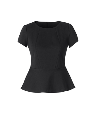 Picture of NNT Uniforms-CAT9S1-BLA-Cap Sleeve Peplum Top